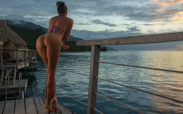 1920x1080 pix. Wallpaper ass, bikini, thongs, long legs, sunset, water willa, sea
