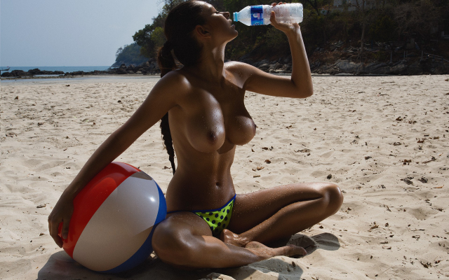 1920x1200 pix. Wallpaper Helga Lovekaty, nude, boobs, tits, beach, sand, wet, topless, drinking water
