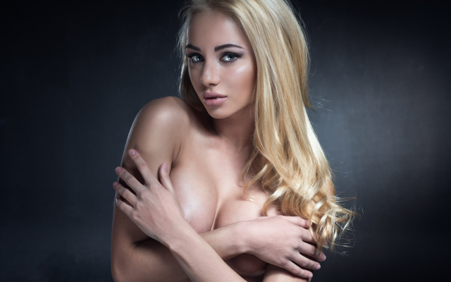 Topless Blonde Teen Holding 2