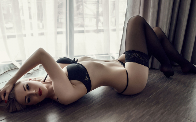 2048x1366 pix. Wallpaper lingerie, pale, red lipstick, black panties, black stockings