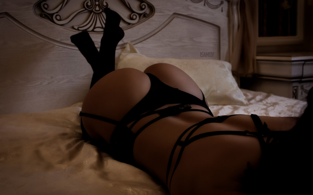 2560x1707 pix. Wallpaper ass, black lingerie, in bed, black stockings, thong, panties