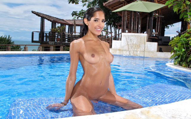 2400x1800 pix. Wallpaper chloe amour, wet, pool, tanned, exotic, nude, tits, smiling, nipples