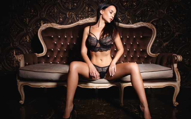 2048x1407 pix. Wallpaper angelina petrova, sitting, closed eyes, high heels, black lingerie, big tits