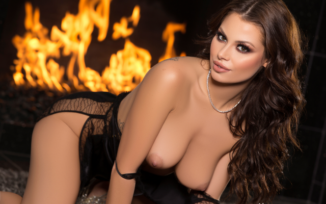 2739x1826 pix. Wallpaper shelly lee, playboy, tanned, fireplace, brunette, boobs, tits
