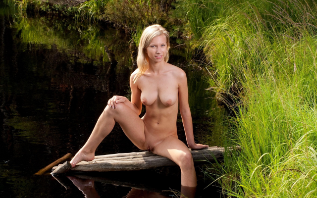 3000x1688 pix. Wallpaper skinny, outdoor, boobs, tits, naked, pier, pond, grass, shaved pussy
