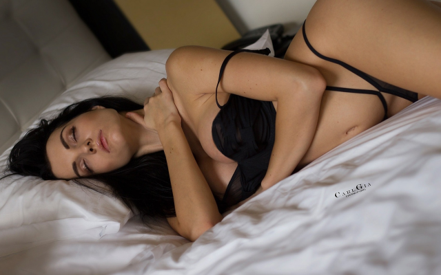 1920x1151 pix. Wallpaper closed eyes, in bed, black hair, black lingerie, big tits, sexy belly