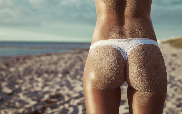 2048x1365 pix. Wallpaper ass, sea, sand, sand covered, tanned, back, white panties, beach