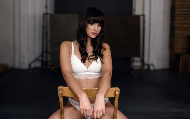 2048x1367 pix. Wallpaper white lingerie, sitting, chair, brunette