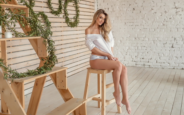 2000x1335 pix. Wallpaper blonde, sitting, shirt, chair, panties, sexy legs, smiling