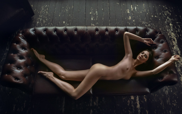 2000x1500 pix. Wallpaper disha shemetova, nude, top view, couch, ass, armpits, closed eyes, tanned, tits, oiled