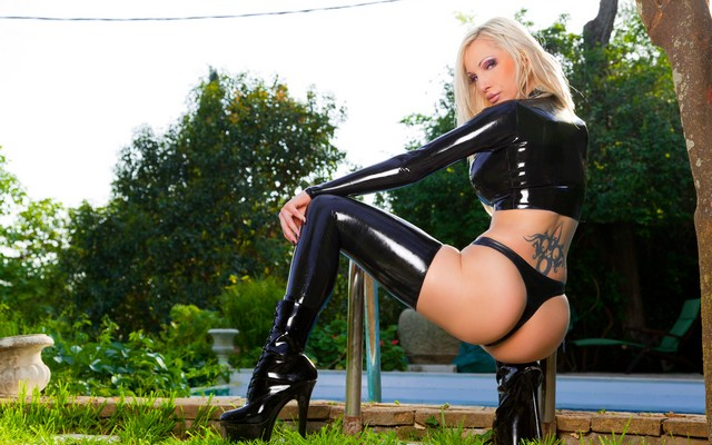 3000x2000 pix. Wallpaper lingerie, tattoo, latex, legs, Susan Wayland, pool