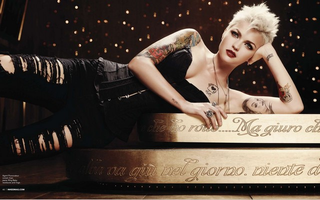 2932x1754 pix. Wallpaper blonde, girl, tattoo, ruby rose