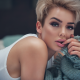 rosie robinson, makeup, shirt, sexy lips, short hairs, non nude wallpaper
