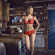 dalia whitney, kitchen, lingerie, red panties, red bra wallpaper