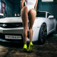 women, back, ass, cars, sneakers, one-piece swimsuit, tattoo, chevrolet wallpaper