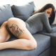sophia james, tattoo, leotard, couch, justin swain, brunette, ass wallpaper