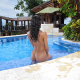 chloe amour, ass, wet, pool, tanned, exotic, nude, back, brunette wallpaper