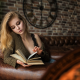 portrait, books, couch, bricks, wall, sitting wallpaper