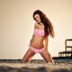 beach, sand, kneeling, pierced navel, swimwear, long hair wallpaper