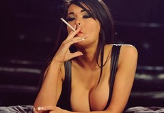 boobs, models, brunettes, women, cleavage, Charley Atwell, smoking, cigarettes wallpaper