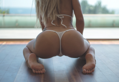 cara, ass, tattoo, kneeling, blonde, thong, back wallpaper