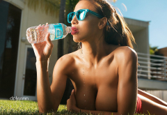 topless, glasses, big boobs, bottle, water wallpaper