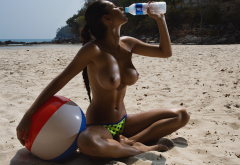 Helga Lovekaty, nude, boobs, tits, beach, sand, wet, topless, drinking water wallpaper