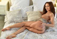Michaela Isizzu, in bed, nude, ass, pussy, sexy legs wallpaper