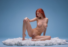 Ariel Piper Fawn, redhead, nude, boobs, trimmed pussy wallpaper