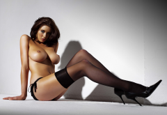 peta todd, boobs, high heels, black stockings, brunette wallpaper