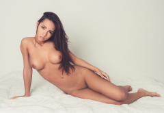 nude, in bed, boobs, nipples, shaved pussy, brunette wallpaper