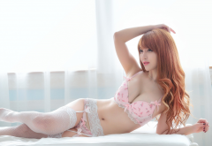 asian, lingerie, redhead, stockings, bra, panties wallpaper