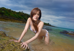 asian, water, bikini, brunette, beach, sea, ocean wallpaper