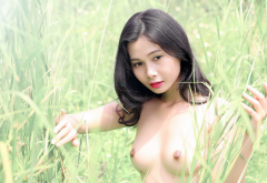 asian, outdoors, small tits, brunette wallpaper