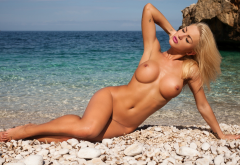 nude, blonde, photodromm, boobs, fake tits, shaved, big tits, beach wallpaper