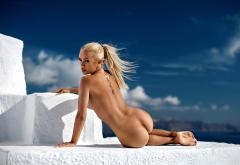 katarina bencek, blonde, nude, santorini, greece, ass, playboy wallpaper