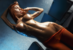 oiled, model, redhead, boobs, nipples, closed eyes, flat belly, finger in mouth, body oil, orange pantyhose, sporty wallpaper