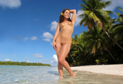 gracie glam, beach, trimmed pussy, tropics, brunette, smiling, small tits wallpaper