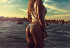 ass, thong, sea, water, tanned, wet body, beach wallpaper