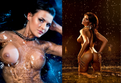oxana bondarenko, playboy, ass, big tits, wet, nipples, brunette, collage wallpaper