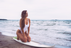 outdoors, sea, beach, waves, one-piece swimsuit, tanned, hips, long hair, brunette, surfing, surfborad wallpaper