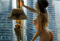 girl, pose, ass, boobs, breasts, hat, lamp, big tits, window, hotell room wallpaper