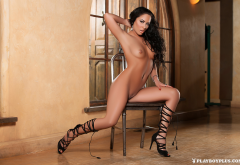 barbara desiree, playboy, sexy legs, brunette, tanned, small tits, shaved pussy wallpaper