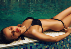 tanned, belly, closed eyes, black bikini, swimming pool, red lipstick wallpaper