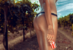 ass, tanned, outdoors, coca-cola, water drops, wet body, wet, thong, panties, vineyard wallpaper