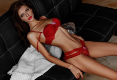 veronika evdokimova, skinny, flat belly, couch, red lingerie, red lipstick, red nails wallpaper