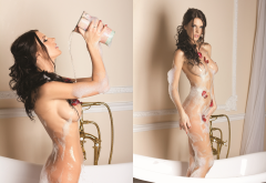 oxana voznyuk, playboy, bathroom, bathtub, foam, wet, boobs, tits, collage, brunette wallpaper