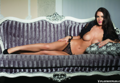 oxana voznyuk, playboy, smiling, boobs, tits, couch, sofa, black panties, topless wallpaper