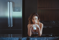 kitchen, cup, coffee, white bra, sexy, fridge wallpaper