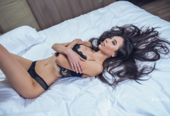 sexy bitch, lying on back, belly, black lingerie, arms crossed, in bed, asian, brunette wallpaper